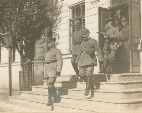 General R. Kosh with officers of his staff. Crimea, 1918
