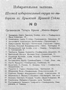 Millie Firka's postcard to the re-election to the Crimean Regional Sejm.