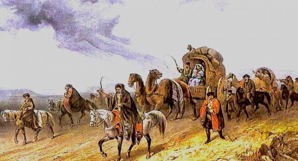 K. Bosolli.Tatars traveling in the steppe (mid-nineteenth century.)