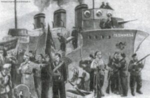 The destroyer Hajibey delivered on board to the port of Yalta a landing party of 200 sailors and a large stockpile of weapons and ammunition for the local Red Guards.