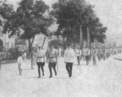 A detachment of the Red Guard, formed in the Crimea in 1919.