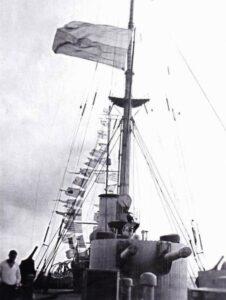 """Ukrainian flag on the gaff of the cruiser """"Memory of Mercury"""". November 25, 1917, Sevastopol."""