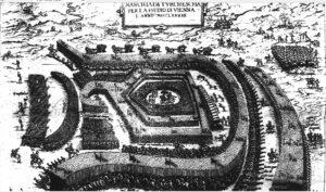 Гравюра з зображенням походу війська Кримського ханства та Османської імперії на Відень. 1683 рік.