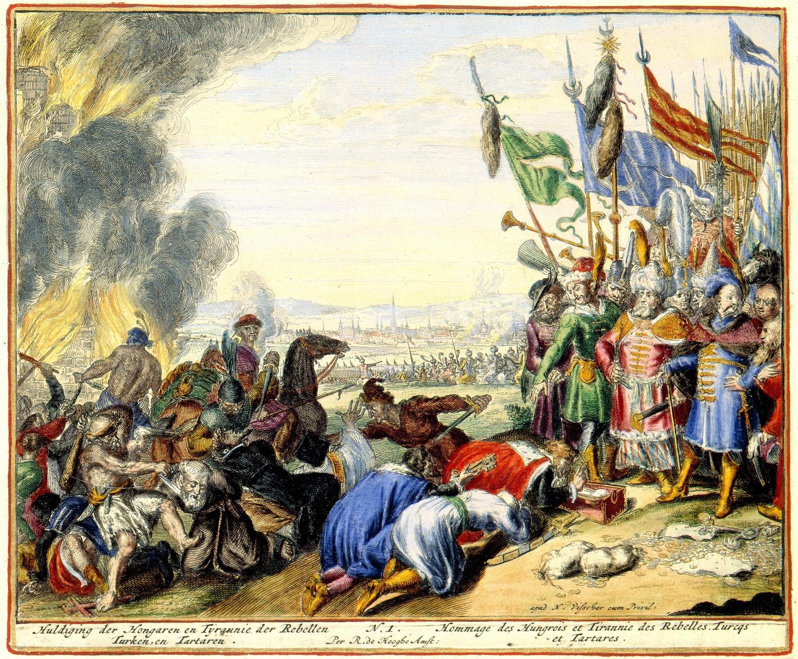 Малюнок з зображенням візира Кара Мустафи та хана Мюрад-Гірея І, які приймають покору в угорців. 1683 рік. Худ. Ромейн-де-Хоге.
