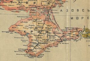 """Crimea on the """"Map of Ukraine"""" by Stepan Rudnytsky in 1918 with the designation of the Ukrainian population in the Crimea (yellow)"""