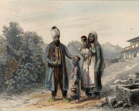 Кримські татари в Бахчисараї. Малюнок 18 століття.