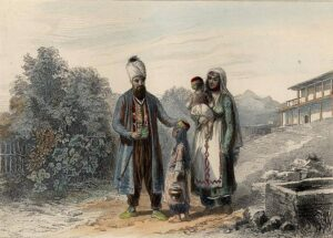 Crimean Tatars in Bakhchisarai. Picture of the 18th century.