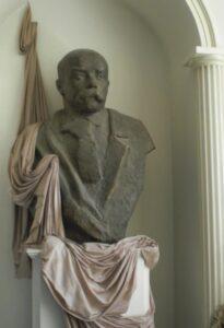Bust of Taras Shevchenko in the lobby of the cinema