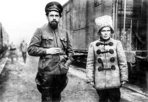 Pavlo Dybenko, commander of the Zadniprovsk Rifle Division and Brigadier General Nestor Makhno, Katerynoslav, 1919