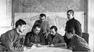 P. Dybenko at the headquarters of the Crimean Red Army